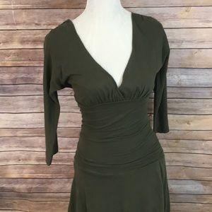 Anthropologie Velvet olive green dress